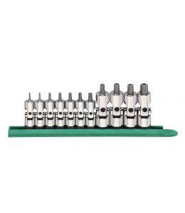 """11 Pc. 1/4"""" & 3/8"""" Drive Universal Tamper Proof Torx® Bit Socket Set"""