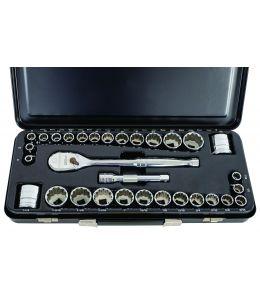 "Socket Set 1/2"" Drive 120XP Standard 6pt Metal Case MET/SAE 31Pc"
